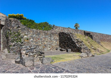 Wall built by the Portuguese dividing the new and old part of town or historic quarter of Colonia Del Sacramento , Uruguay, South America