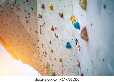 a wall built for indoor rock climbing