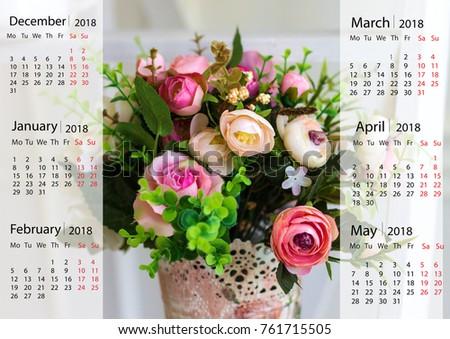 Wall Calendar Beautiful Flowers Vase 2018 Stock Photo Edit Now