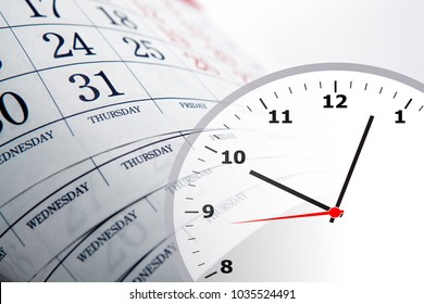 wall calendar calendar with the number of days and clock close up