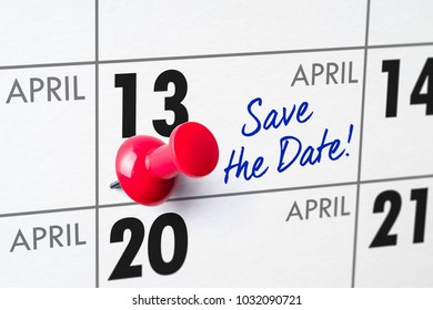 Wall calendar with a red pin - April 13