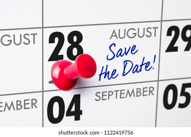 Wall calendar with a red pin - August 28