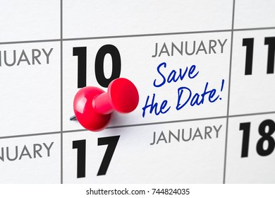Wall calendar with a red pin - January 10