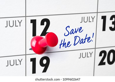 Wall calendar with a red pin - July 12