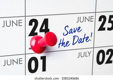 Wall calendar with a red pin - June 24