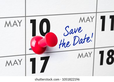 Wall calendar with a red pin - May 10