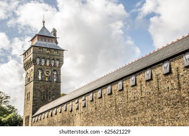 A wall of Cardiff Castle and Clock tower, Wales.