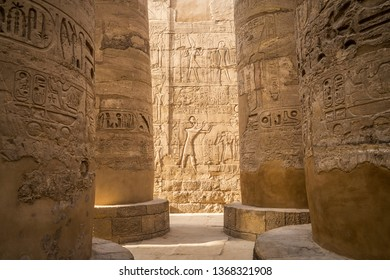 Wall carvings at the Great Hypostyle Hall, at Karnak Temple,in the east bank of the Nile River, El-Karnak, Luxor, Egypt
