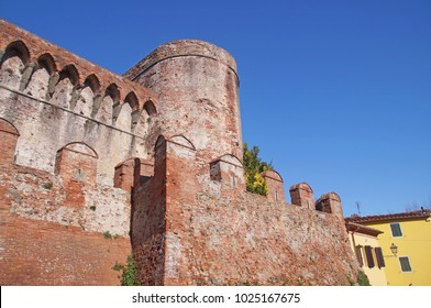 The wall to the castle of Montecarlo in Tuscany, Italy