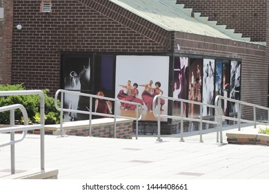 wall of Center for African and Diaspora Dance building Picture is showing wall at restoration Plaza in the bedford Stuyvesant section of Brooklyn NY july1 2019