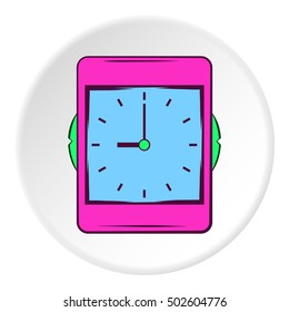 Wall clock icon in cartoon style on white circle background. Time symbol  illustration