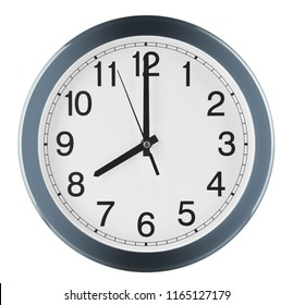 Wall clock isolated on white background. Eight oclock.
