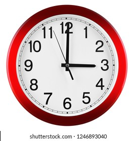 Wall clock isolated on white background. Three oclock.