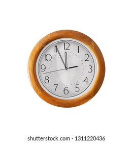 Wall clock isolated on white background. Vintage circle clock wooden frame