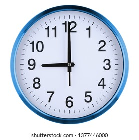 Wall clock isolated on white background. Nine oclock.