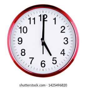 Wall clock isolated on white background. Five oclock.