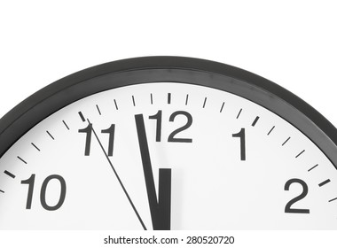 Wall clock isolated on white close up