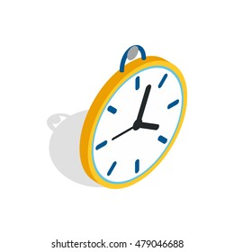 Wall clock with a loop icon in isometric 3d style isolated on white background