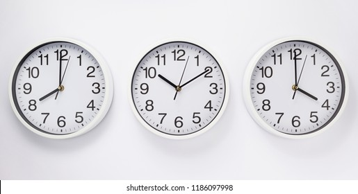 wall clock on white  background, top view