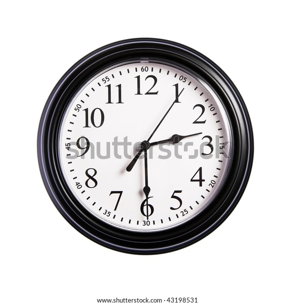 Wall clock shows time 2:30 on white isolated background