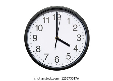 Wall clock shows time 4 o'clock on white isolated background. Round wall clock - front view. Sixteen o'clock
