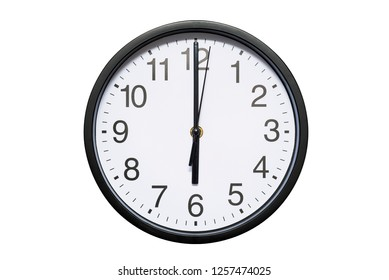 Wall clock shows time 6 o'clock on white isolated background. Round wall clock - front view. Eighteen o'clock