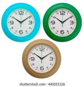 Wall clocks isolated on white background. Include clipping path.