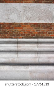 Wall combined brick and stones