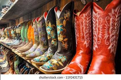 Wall of Cowboy Boots in Santa Fe, New Mexico, Usa