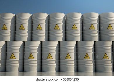 Wall of Dangerous Biohazard Waste Barrels.