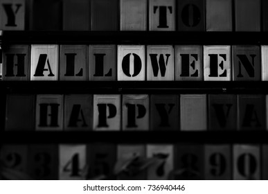 Wall decorate by metal box with black and white tone, halloween word.