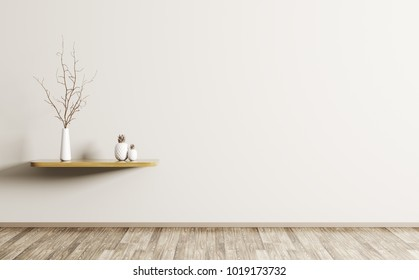 Wall decoration, living room with wooden shelf and branch in vase, interior background 3d rendering