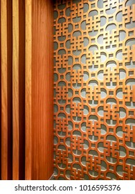 Wall decoration of oriental pattern design element with wood bass-relief cutting