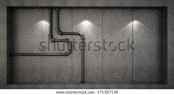 Wall Decoration Pipe Concrete Wall Loft Stock Photo (Edit Now) 571387138