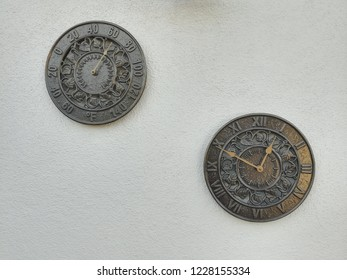 Wall decoration with time and thermometer reading at the patio while you are sitting and checking on your accuracy time and temperature tools, nice antique look as vintage item with bronze side