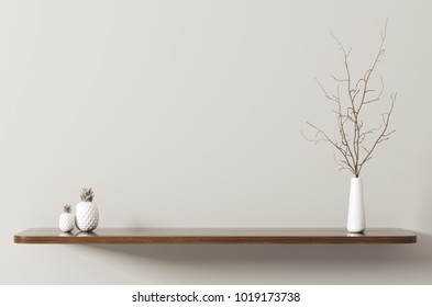 Wall decoration, wooden shelf with branch in vase, interior background 3d rendering