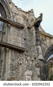 The wall of a destroyed Cathedral in Amiens city, France