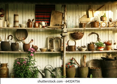Wall with different old tools used on Polish villages