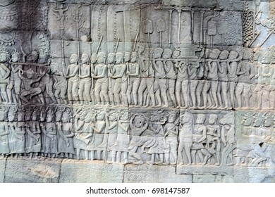 Wall drawings. Ancient Temple of Angkor. Cambodia.