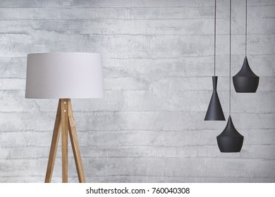 wall empty interior decoration modern lamp and wooden floor concept, decorative and white background for home office