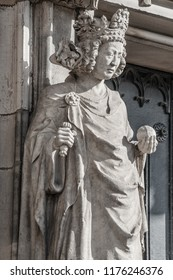 Wall figure of queen at main façade of cathedral in Magdeburg, Germany, Autumn, closeup, details