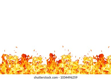 Wall of fire isolated on white background
