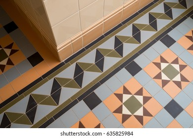 Wall and floor in ceramic tiles
