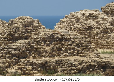 Wall of the fortress of Arsuf (Apollonia). Strategically important stronghold in the Third Crusade. In the Battle of Arsuf Richard I of England (Lionheart) defeated the Ayyubid forces of Saladin