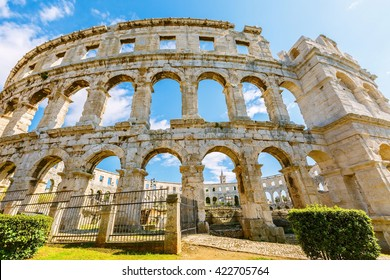 A wall fragment of ancient Roman amphitheater (Arena) in Pula, Croatia