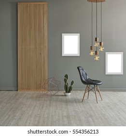 wall in front of modern wooden separator modern pendant lamp textured wood laminate flooring and cactus with leather chair concept, frame