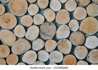 Wall group of cut  wood section.