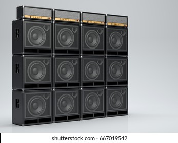 A wall of guitar amps on a light background. 3D Render