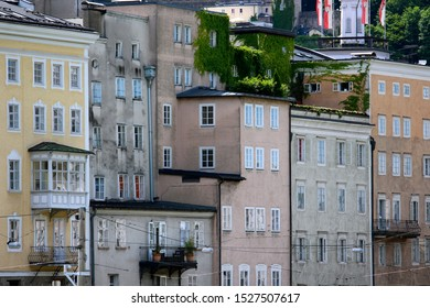 A wall of houses and apartments