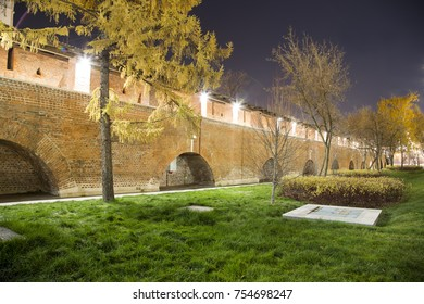 Wall in Kitay-gorod (at Night), Moscow, Russia